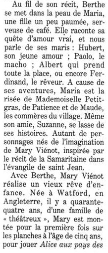 Article: La presse parle de Berthe se jette à  l'eau