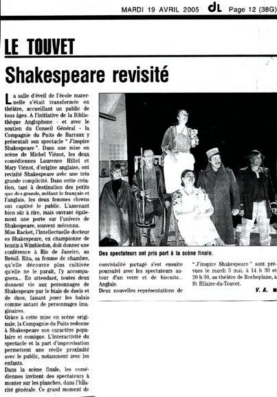 Article: La presse parle de J'inspire Shakespeare